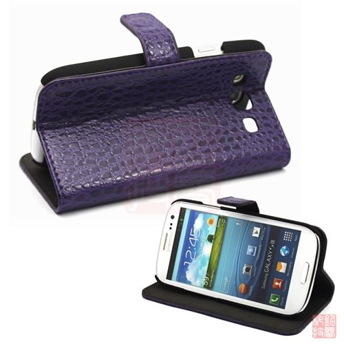 Purple Croco PU Leather Flip Case Cover W/Stand for Samsung i9300