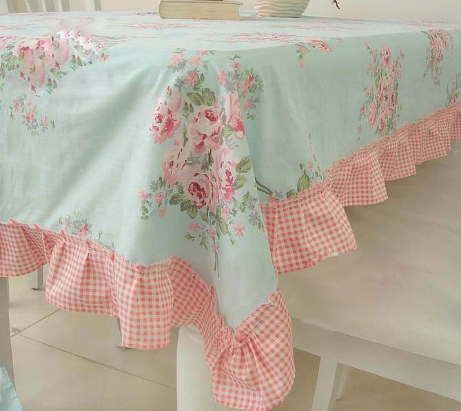 Shabby Style Cottage Country Chic Victoria Rose Ruffled Tablecloth