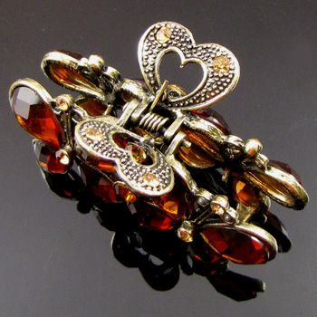 ADDL Item  1 rhinestone crystal Antiqued butterfly hair