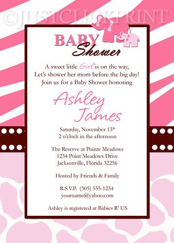 Wild Safari Pink Baby Shower Invite   Printable File