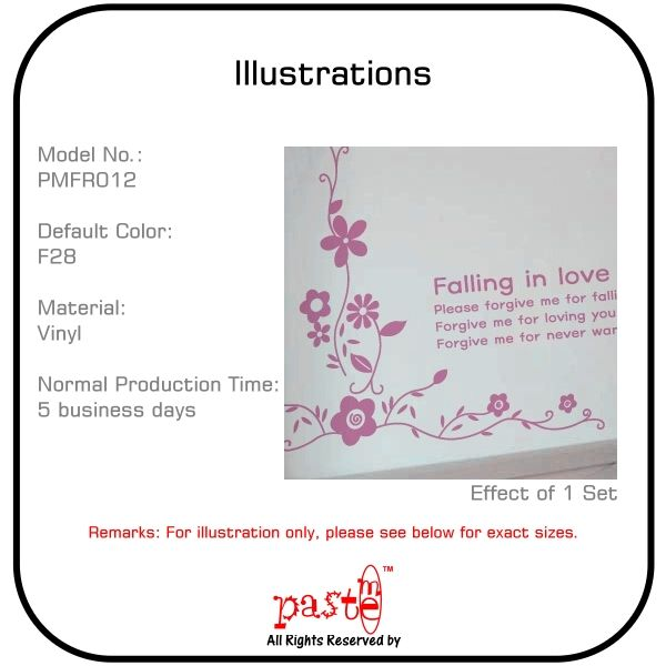 Wall Stickers Decal Vinyl Quote Decor Flower PMFR012