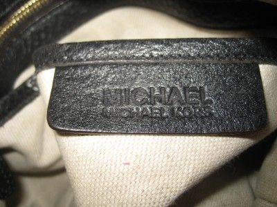 MICHAEL KORS Black Leather Brown Trim Boston Satchel Handbag Purse
