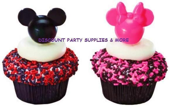 Disney Mickey & Minnie Mouse Black Pink Cake Cupcake Pics Picks