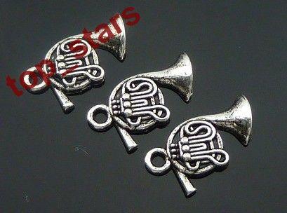 30 pcs Tibetan Silver French horn charms Pendants