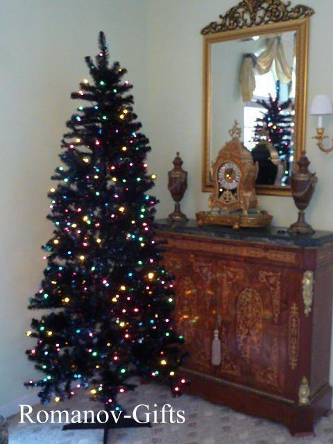Art Deco BLACK Slim Pre Lited MULTI color, Alaska Christmas Tree 7