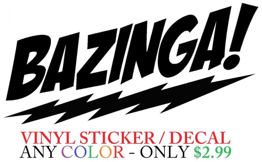Bazinga Big Bang Theory Sheldon Cooper Car Window Wall Sticker Decal