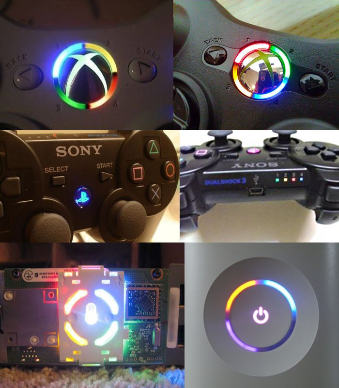 XBOX 360 & PS3 CONTROLLER RING OF LIGHT MOD KIT 5 LEDS   YOU PICK YOUR