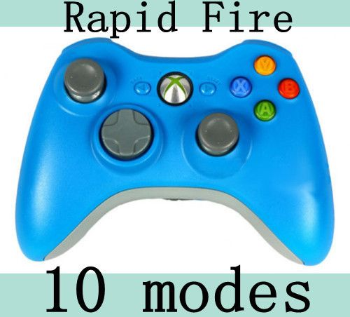 NEW 10 MODE BLUE XBOX 360 DUAL RAPID FIRE MODDED CONTROLLER FOR BLACK